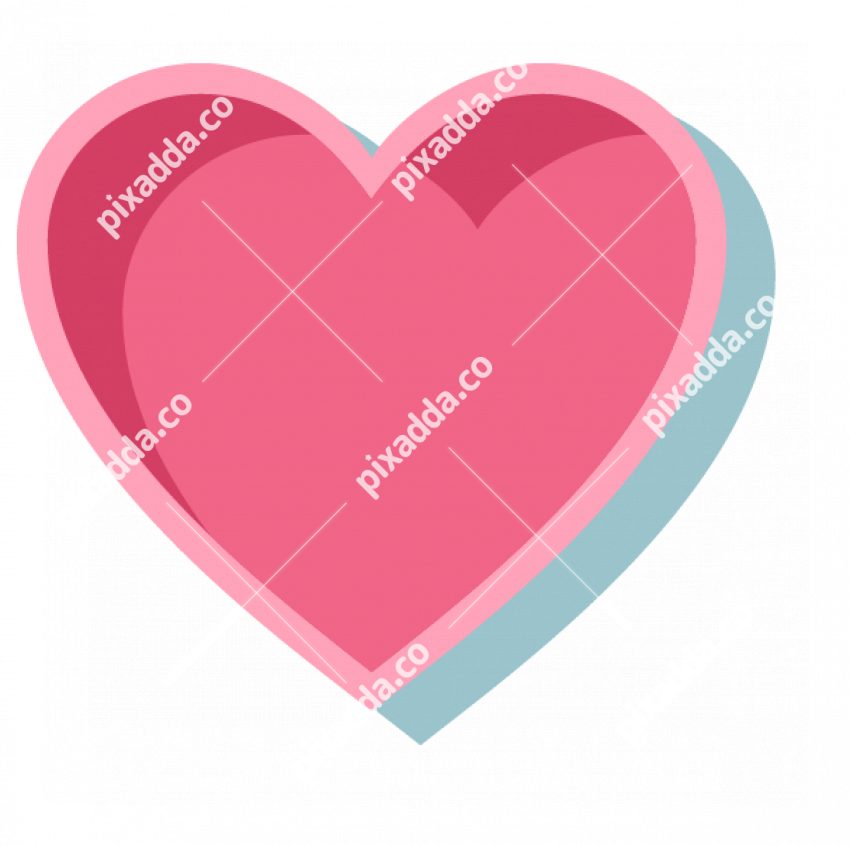 pink heart with outline PNG