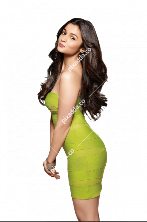 Alia Bhatt in Yellow outfit PNG Transparent