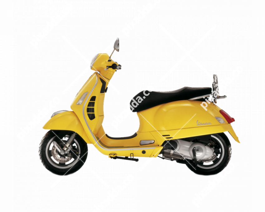 yellow vespa scooty