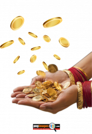 falling coins in hand png transparent image