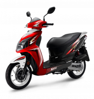 red and black scooter