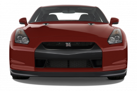 red nissan car front