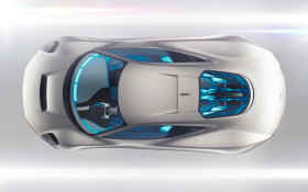 silver jaguar seen from above wide